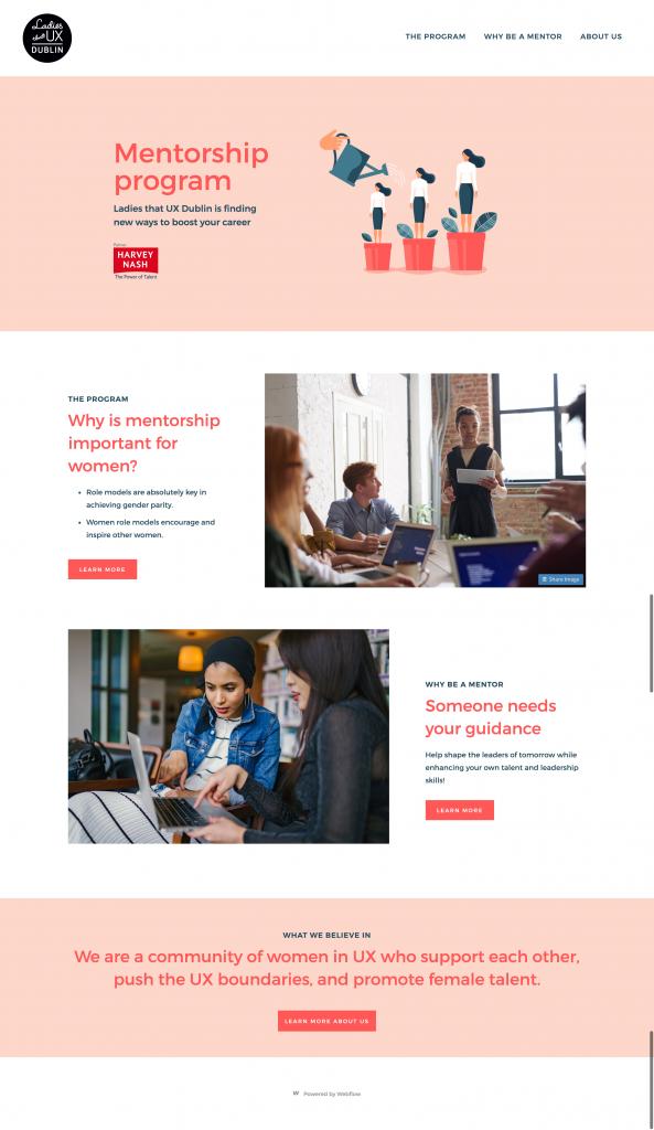 Mentorship Program Ladies that UX Dublin Website